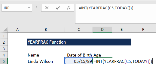 YEARFRAC Function - Example 2a