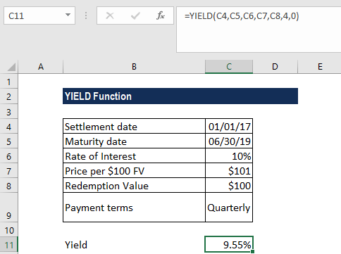 YIELD Function - Example