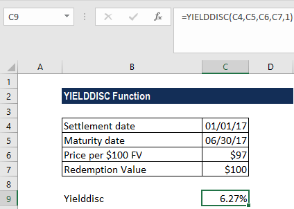 YIELDDISC Function - Example