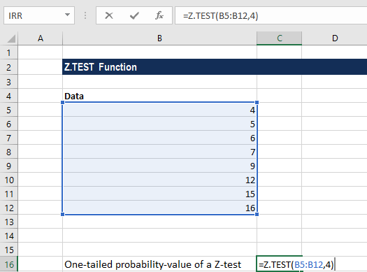 Z.TEST - Example 1